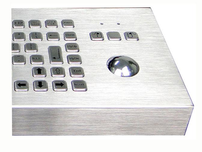 Industrial Desktop Stainless Steel Keyboard 12 Keys F1 - F12 With Trackball