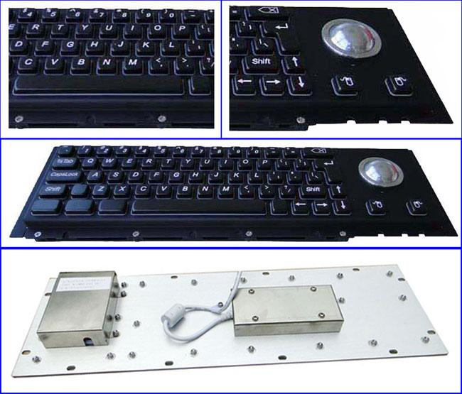 Electroplated Black Cherry Key Switch Industrial Metal Keyboard With Trackball