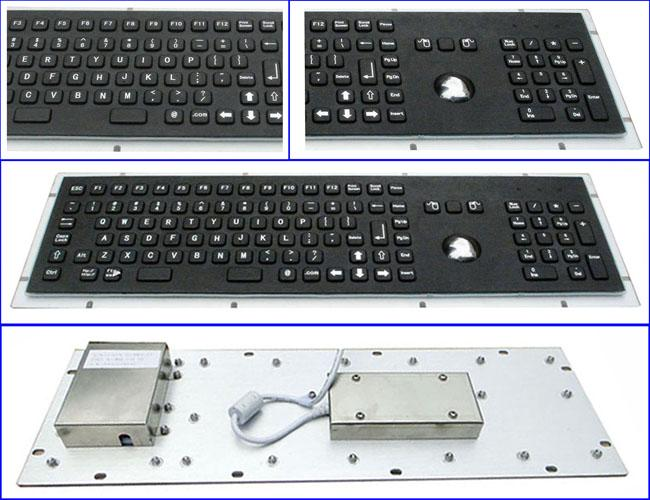 Rugged Panel Mount Black Metal Keyboard With Trackball Function Keys And Number Keypad
