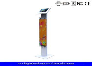 China Public Display Stands Anti Theft Ipad Kiosk Stand with Logo Panel , Rugged Metal supplier
