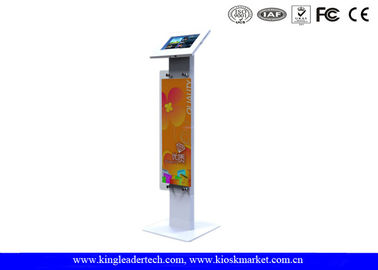 Antitheft Metal Tablet Kiosk Stand With Long Billboard For Samsung Tab 10.1
