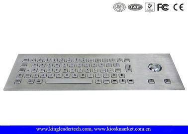China Water-proof 64 Stainless Steel Keys Metal Industrial Keyboard With Trackball supplier