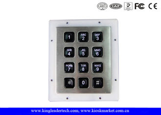 China Rugged IP65 Waterproof Backlit Metal Numeric Keypad For Low-Lit Environment In 3x4 Matrix supplier