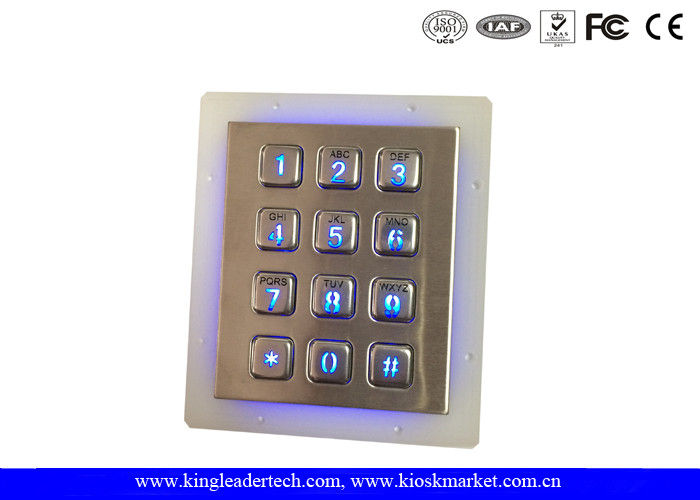 IP65 Rated Stainless Steel Keypad 3x4 Keypad for Access Control System