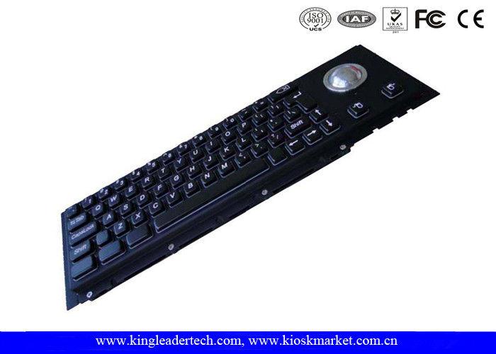 Cherry Key Swithc Kiosk Black Metal Keyboard With Trackball In Good