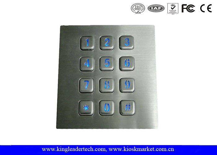 Illuminated Backlit Metal Keypad 3x4 Matrix for Low-lit