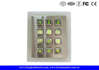 China Weatherproof Green Backlit Metal Keypad For Low - Lit Environment factory