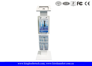 China Freestanding Secure Ipad  Lockable Kiosk with Logo Panel and Leaflet Rack factory