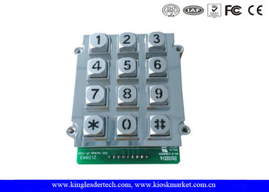 China 12 Keys Zinc Alloy Metal Keypad With Blue Backlight , vandal proof keypad 9 PIN connector factory