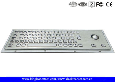 Panel Mount Brushed Metal Industrial Keyboard With Trackball And 64 Keys