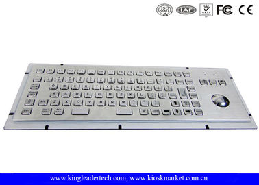 Brushed Metal Kiosk Stainless Steel Panel Mount Keyboard With Optical Trackball And FN Keys